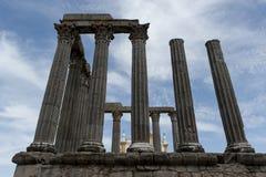 Roman columns in ruins in Evora, Portugal. Roman ruins in Evora, Portugal Stock Photos