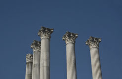 Roman columns of the temple of Cordoba. From the street Stock Photography