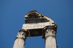 Roman columns of the Temple of Vespasian Royalty Free Stock Photography