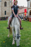 Roman commandant soldier in battle costume inspect the troops on Royalty Free Stock Photos