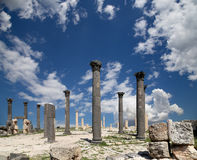 Roman Corinthian columns in Umm Qais, Jordan Stock Image