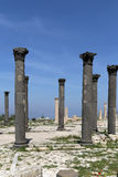Roman Corinthian columns in Umm Qais (Umm Qays) --is a town in northern Jordan near the site of the ancient town of Gadara. Royalty Free Stock Photography