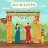 Roman Couple Background plat illustration stock