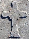 Roman Cross. Cross engraved on a stone from Roman Bath Ruins, Ankara, Turkey Stock Image