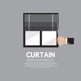 Roman Curtain On Window Royalty Free Stock Photos