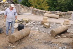 Roman domus - Asturias. Working in the patio of the  Domus  Archaeological site  Chao Samartin  Asturias SPAIN Royalty Free Stock Photography