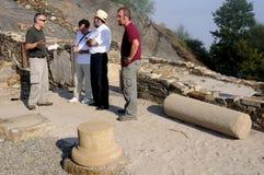 Roman domus - Asturias. Archaeologist in response to the press   Domus  Archaeological site  Chao Samartin  Asturias SPAIN Royalty Free Stock Photos