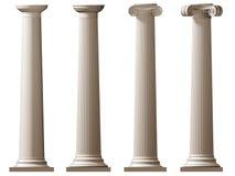 Roman Doric and Ionic columns. Isolated illustration of Roman Doric and Ionic columns Stock Photos