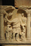 Roman Early Christian sarcophagus, the sacrifice of Isaac Stock Photo