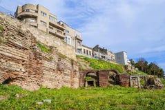 Roman Edifice del av den gamla staden av Constanta, Rumänien arkivbild