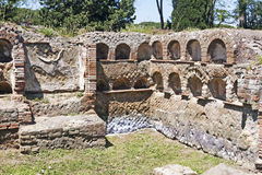 Roman emapire archaeological excavations necropolis columbarium Royalty Free Stock Photos