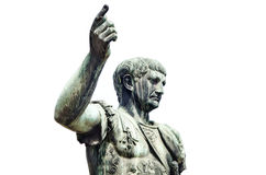Roman emperor bronze statue isolated on white Royalty Free Stock Images