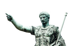 Roman emperor bronze statue isolated on white Royalty Free Stock Photo