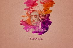 Roman Emperor Commodus. Commodus, born Lucius Aurelius Commodus and died Lucius Aelius Aurelius Commodus, was Roman emperor with his father Marcus Aurelius from royalty free illustration