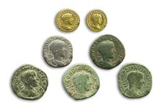 Roman Emperor Gordian III coins, 243 AC royalty free stock photography