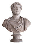 Roman emperor Hadrian isolated on whi. Ancient marble bust of the roman emperor Hadrian isolated on white with clipping path Stock Image