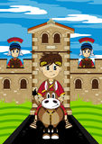 Roman Emperor on Horse. Cartoon vector illustration of a Roman Emperor riding a cute horse with centurion soldiers guarding the fort. An EPS file is also stock illustration