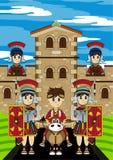 Roman Emperor sur le cheval au fort illustration stock