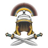 Roman Empire Helmet with Swords. Roman Empire centurion helmet with crossed swords drawn in engraving style. Vector illustration royalty free illustration