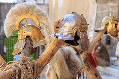 Roman empire helmets Stock Image