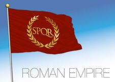 Roman Empire historical flag, SPQR, vector illustration. Old symbol of the ancient empire stock illustration