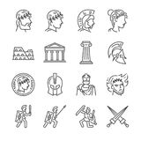 Roman empire line icon set. Included the icons as soldier, column, coliseum, sanctuary, emperor and more. Royalty Free Stock Photo
