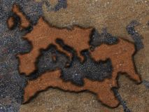 Roman Empire Map. Grunge map of the roman empire, engraved on a rusty metal plate Royalty Free Stock Photo