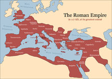 Roman Empire Provinces. The Roman Empire at its greatest extent in 117 AD at the time of Trajan, plus principal provinces. Vector illustration stock illustration