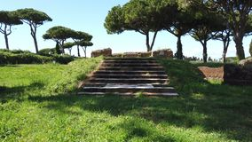Roman empire ruin with view of Cibele Sanctuary n the archaeological excavations of Ostia Antica. Roman empire ruin with view of Cibele Sanctuary shooting from stock footage