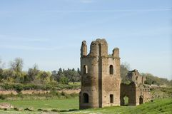 Roman Empire ruins 2. Middle ages ruins of circus of Maxentius or of Romulus, Via Appia Antica,Rome stock photo