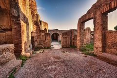 Roman Empire ruins s street view of Seven wise men spa in Ancient Ostia. Rome royalty free stock photography