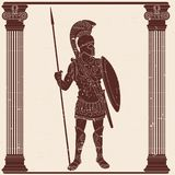 Roman Empire Warrior. Roman Empire warrior in armor and a helmet with a weapon in hand on beige backgroundwith the aging effect vector illustration