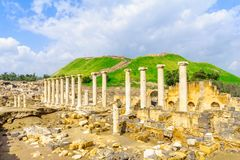 Roman era street in the ancient city of Bet Shean. View of the Roman era street in the ancient city of Bet Shean, now a national park. Northern Israel royalty free stock photography
