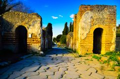 Exterior of ruins of antique and ancient Roman rich family home part of tourist destination stock images