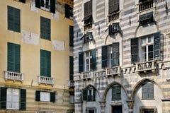 Roman facades streets of Genoa Stock Photos