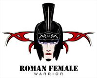 Roman Female Warrior. Head over the tribal pattern Royalty Free Stock Images