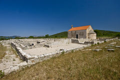 Roman finding site and St.Martin`s church Royalty Free Stock Photos