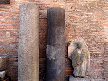 Roman finds. Ancient roman finds in the Diocleziano archaeological site in Rome, Italy Stock Photo
