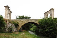Roman Flavien bridge near Saint-Chamas, France stock photos