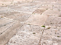 Roman floor. Old Roman floor with steps made of travertine in Rome, Italy stock image