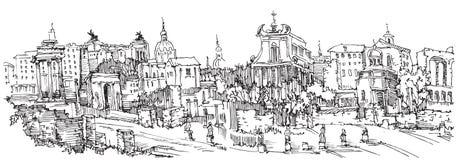 roman fora stock illustrationer