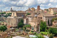 roman fora fördärvar Tempel av Antoninus och Faustina, basilika av Santi Cosma e Damiano och andra rome italy royaltyfri bild