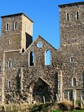 Roman Fort and Medieval Towers, England. Reculver roman fort on the Kentish Coast, England, on a sunny day. Medieval towers of St Marys Church and remains of a Royalty Free Stock Images