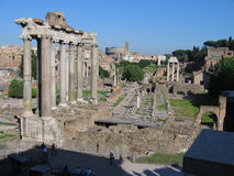 Roman Forum. View of the roman Forum and Colosseum Stock Image