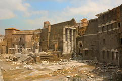 Roman forum. Ancient Rome in the famous historical site of the roman forum Stock Photography