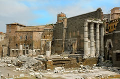 Roman forum. Ancient Rome in the famous historical site of the roman forum Royalty Free Stock Image