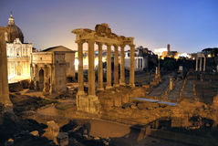 Roman Forum. (Foro Romano) in Rome, Italy at night Stock Photography