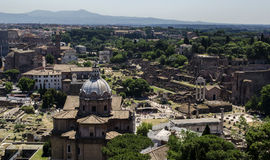 Roman Forum aerial view Royalty Free Stock Images