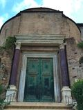 Temple of Romulus - Forum was the center of day-to-day life in Rome stock photo