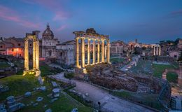 Roman Forum and Colosseum at sunset as seen from the Campidoglio Hill, Rome, Italy. stock photo